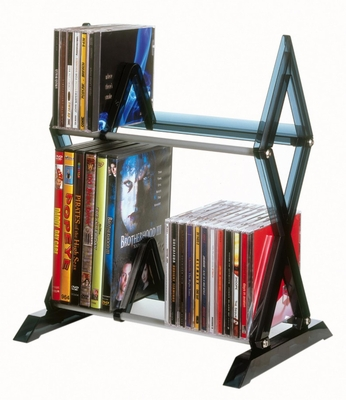 Mitsu 2 Tier Media Rack For 52 CDs or 36 DVDs and Blu-Ray in Smoke - Atlantic - 64835193