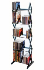 Mitsu 5 Tier Media Rack For 130 CDs or 90 DVDs and Blu-Ray in Smoke - Atlantic - 64835195