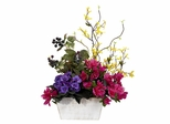 Mixed Floral with Azalea and White Wash Planter Silk Arrangement - Nearly Natural - 1270