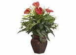 Mixed Greens and Anthurium with Decorative Vase Silk Plant - Nearly Natural - 6678