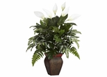 Mixed Greens with Spathyfillum and Decorative Vase Silk Plant - Nearly Natural - 6677