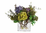 Mixed Hydrangea with Rectangle Vase Silk Flower Arrangement in Mixed - Nearly Natural - 4670