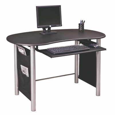 Mixed Media Workstation with Black Top and Silver Base - Office Star - MM01BK