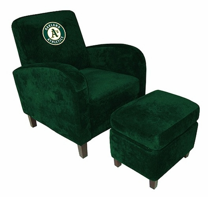 MLB Oakland A's Den Chair with Ottoman - Imperial International - 126503