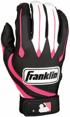 MLB Youth Series Black / Pink Youth Batting Glove Pair - Franklin Sports