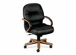Mngrl Mid-Back Chair - Medium Oak/Black Lthr - HON2192MSR11