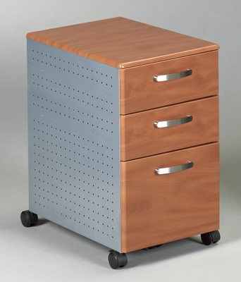 Mobile File Cabinet in Medium Cherry/Metallic Gray - Mayline Office Furniture - 992MEC