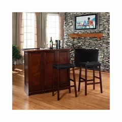 "Mobile Folding Bar in Vintage Mahogany With 29"" Saddle Stool - CROSLEY-KF400034MA"