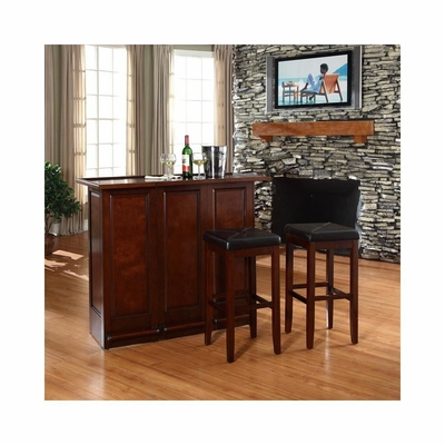 Mobile Folding Bar in Vintage Mahogany With 29