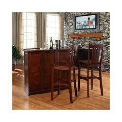 "Mobile Folding Bar in Vintage Mahogany With 30"" School House Stool - CROSLEY-KF400032MA"