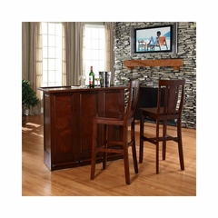 "Mobile Folding Bar in Vintage Mahogany With 30"" Shield Back Stool - CROSLEY-KF400031MA"
