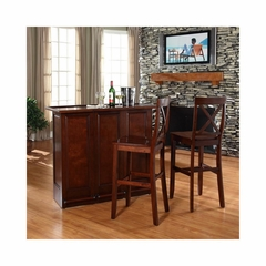 "Mobile Folding Bar in Vintage Mahogany With 30"" X-Back Stool - CROSLEY-KF400033MA"