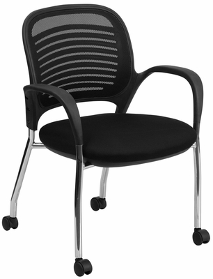 Mobile Mesh Back Side Chair  - LF-X-8B-BK-GG