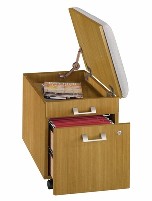 Mobile Pedestal with Cushion - Quantum Modern Cherry Collection - Bush Office Furniture - QT211FMC