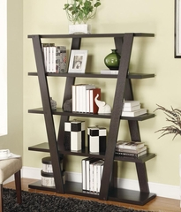 Modern Bookshelf with Inverted Supports & Open Shelves - 800318