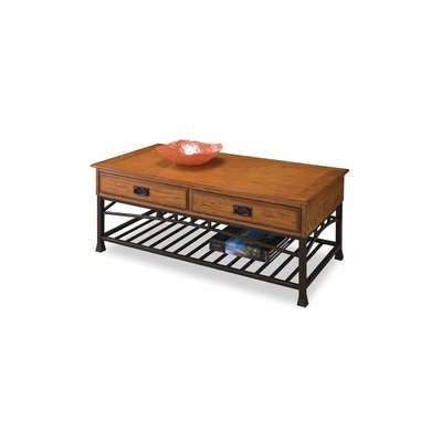 Modern Craftsman Coffee Table with Two Drawers - Home Styles - HS-5050-21