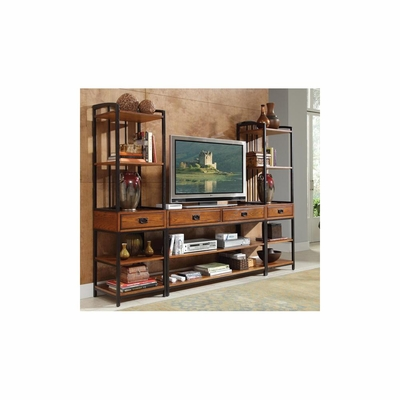 Modern Craftsman Distressed Oak Entertainment Center - Home Styles - HS-5050-34