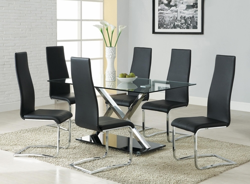 Modern Dining 7 Piece XY Table Set with Glass Top - 102320