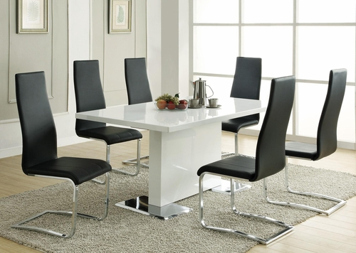 Modern Dining 7PC White Table & Black Upholstered Chairs Set - 102310