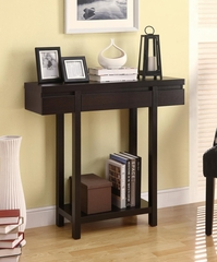 Modern Entry Table with Lower Shelf in Cappuccino - 950135
