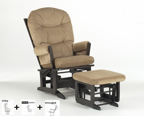 Modern Multiposition and Recliner Glider with Ottoman Combo - Dutailier - C20-84A