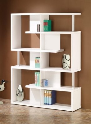 Modern White Finish Bookcase - 800310