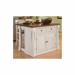 Monarch Antiqued White Kitchen Island and Two Stools - Home Styles - HS-5020-948