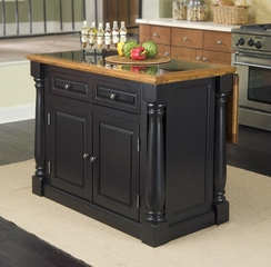 Monarch Kitchen Island with Granite Top in Black / Oak - Home Styles - 5009-94