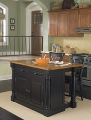 Monarch Kitchen Island with Two Bar Stools in Black / Oak - Home Styles - 5008-948