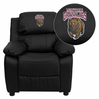 Montana Grizzlies Embroidered Black Leather Kids Recliner - BT-7985-KID-BK-LEA-40018-EMB-GG