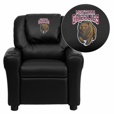 Montana Grizzlies Embroidered Black Vinyl Kids Recliner - DG-ULT-KID-BK-40018-EMB-GG