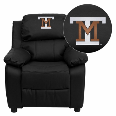 Montana Tech of the University of Montana Orediggers Embroidered Black Leather Kids Recliner - BT-7985-KID-BK-LEA-41055-EMB-GG