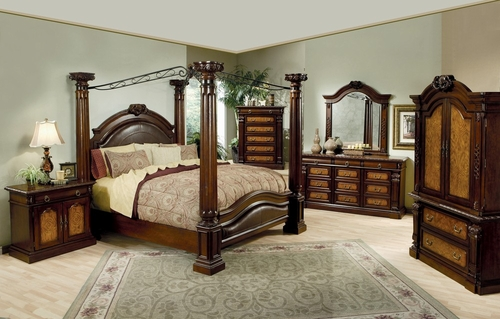 Montecito II California King Size Bedroom Furniture Set in Medium Chestnut - Coaster - 201201KW-BSET