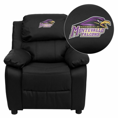 Montevallo Falcons Embroidered Black Leather Kids Recliner - BT-7985-KID-BK-LEA-41087-EMB-GG