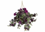 Morning Glory Hanging Basket Silk Plant in Purple - Nearly Natural - 6610