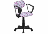 Multi-Colored Flower Printed Computer Chair - BT-FLWR-A-GG