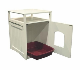 Multifunctional Cat Washroom / Night Stand Pet House in White - Merry Products - MPS006