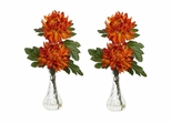 Mum with Bud Vase Silk Flower Arrangement (Set of 2) - Nearly Natural - 1261-S2