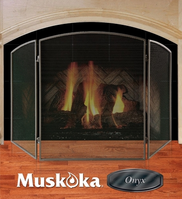 Muskoka Onyx Series Matte Black Fireplace Screen - Greenway Home Products - MFS100