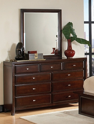 Nadine 11 Drawer Dresser with Mirror in Dark Mahogany - Coaster - 201333-34-SET