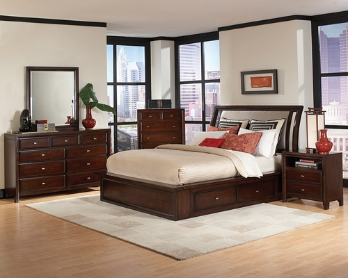 Nadine California King Size Bedroom Furniture Set in Dark Mahogany - Coaster - 201331KW-BSET