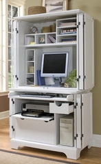 Naples Compact Computer Cabinet with Hutch in White - Home Styles - 5530-190