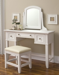 Naples Vanity Table with Vanity Bench in White - Home Styles - 5530-72