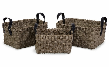 Natural Seagrass Baskets with Handles (Set of 3) - IMAX - 51333-3