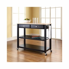 Natural Wood Top Black Kitchen Cart / Island With Optional Stool Storage - CROSLEY-KF30051BK