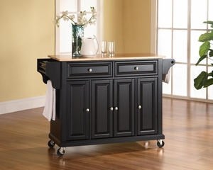 Natural Wood Top Kitchen Cart/Island in Black Finish - Crosley Furniture - KF30001EBK