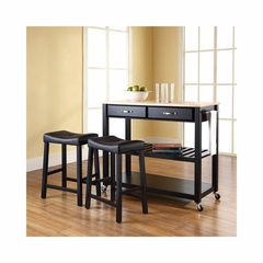 "Natural Wood Top Kitchen Cart / Island in Black With 24"" Saddle Stools - CROSLEY-KF300514BK"