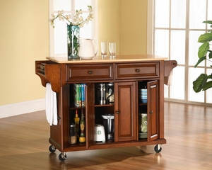 Natural Wood Top Kitchen Cart/Island in Classic Cherry Finish - Crosley Furniture - KF30001ECH
