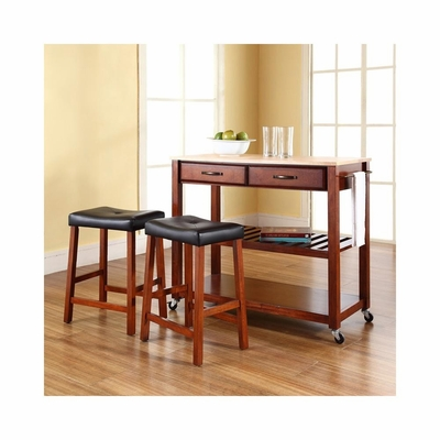 Natural Wood Top Kitchen Cart / Island in Classic Cherry With 24