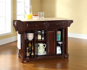 Natural Wood Top Kitchen Cart/Island in Vintage Mahogany - CROSLEY-KF30001EMA